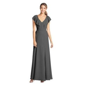 Jenny Yoo Charcoal Grey Chiffon Cecilia Dress